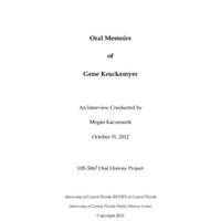 Oral History of Gene Kruckemyer