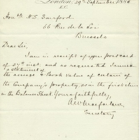 Letter and Statement from A. W. Macfarlane to Henry Shelton Sanford (September 29, 1885)