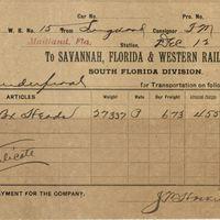 Savannah, Florida & Western Railway Company Receipt for Isaac Vanderpool (December 12, 1892)
