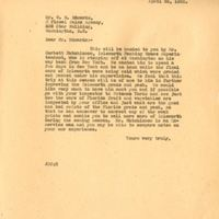Letter from Joshua Coffin Chase to W.  E. Edwards (April 26, 1928)