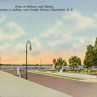 Point of Battery and Statue,  Showing Junction of Ashley and Cooper Rivers Postcard