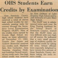 OHS Students Earn Credits by Examination