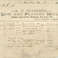 A. D. Starbird Receipt for Isaac Vanderpool (May 8, 1894)