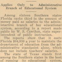 Florida is Third in Southern States Education Salaries: Applies Only to Administrative Branch of Educational System