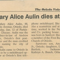 Mary Alice Aulin Dies at Age 88