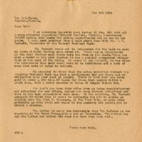 Letter from Joshua Coffin Chase to Sydney Octavius Chase (January 5, 1923)
