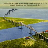 Aerial View of Cooper River Bridge Postcard