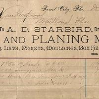 A. D. Starbird Receipt for Isaac Vanderpool (December 12, 1892)