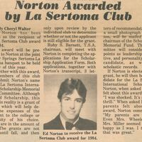 Norton Awarded by La Sertoma Club