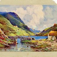 A Stone Bridge and Thatched Cottage Postcard