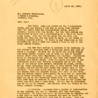 Letter from Joshua Coffin Chase to Corbett Hutchinson (April 26, 1928)