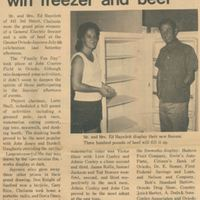 Mr. and Mrs. Ed Hayslett Win Freezer and Beef