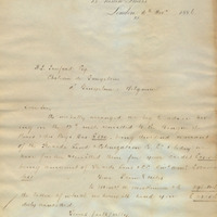 Letter from Gray Dawes and Company to Henry Shelton Sanford (November 16, 1886)