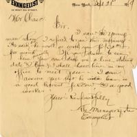 Letter from Manager of the Evangelist to Sydney Ocatvius Chase (September 21, 1889)