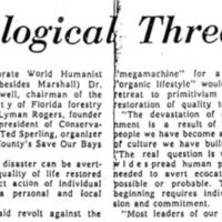 a newspaper article discussing a meeting of florida conservationists held at the park plaza hotel in winter park on world humanist day