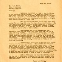 Letter from Joshua Coffin Chase to Sydney Octavius Chase (March 24, 1928)