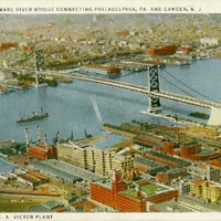 Delaware River Bridge Connecting Philadelphia, PA. and Camden, N.J. Postcard
