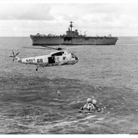Recovery Helicopter Above Apollo 13 Capsule