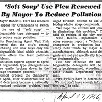 'Soft Soap' Use Plea Renewed by Mayor to Reduce Pollution