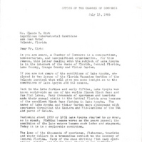 Letter from Arthur W. Sinclair to Claude Roy Kirk, Jr. (July 13, 1966)