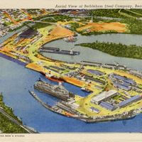 Aerial View of Bethlehem Steel Company Postcard
