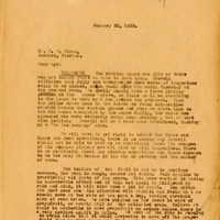 Letter from Joshua Coffin Chase to Sydney Octavius Chase (January 22, 1929)