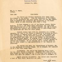 Letter from Joshua Coffin Chase to Sydney Octavius Chase (October 30, 1930)
