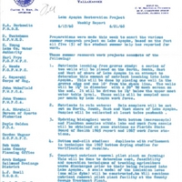 Lake Apopka Restoration Project Weekly Report (June 17 to 21, 1968)