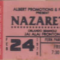 Nazareth Ticket Stub