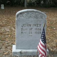 Headstone for John Bonnelll Ivey at Lake Hill Cemetery