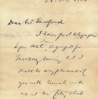 Letter from Edwyn Sandys Dawes to Henry Shelton Sanford (October 26, 1883)