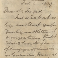 Letter from William MacKinnon to Henry Shelton Sanford (December 1, 1879)