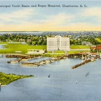 Charleston Municipal Yacht Basin and Roper Hospital Postcard