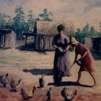 Dindas Feeding Chickens by Bettye Reagan