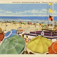 "Galveston's Municipal-Owned Beach, ""Stewart Beach"" Postcard"
