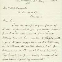 Letter from A. W. Macfarlane to Henry Shelton Sanford (May 12, 1885)