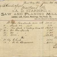 A. D. Starbird Receipt for Isaac Vanderpool (January 24, 1894)