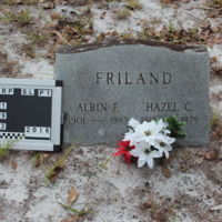 Headstone of Albin F. Friland at Viking Cemetery