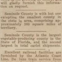 Production of Celery in Seminole County