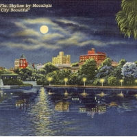 Orlando, Fla. Skyline by Moonlight Postcard