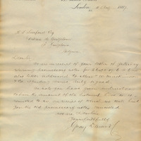 Letter from Gray Dawes and Company to Henry Shelton Sanford (August 11, 1887)