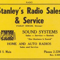 Stanley's Radio Sales & Service Advertisement