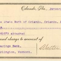 State Bank of Orlando Check to Burlington Savings Bank (January 4, 1905)