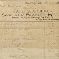 A. D. Starbird Receipt for Isaac Vanderpool (March 17, 1893)