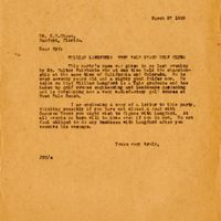 Letter from Joshua Coffin Chase to Sydney Octavius Chase (March 27, 1922)