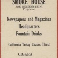 Joe's Smoke House Advertisement, 1919
