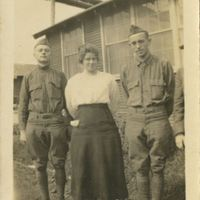 American Soldiers with Woman During World War I