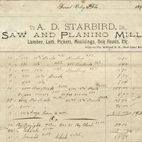 A. D. Starbird Receipt for Isaac Vanderpool