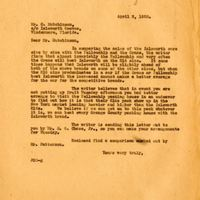 Letter from Joshua Coffin Chase to Corbett Hutchinson (April 2, 1928)