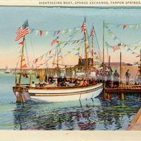 Sightseeing Boat, Sponge Exchange Postcard
